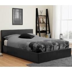 Bayen Faux Leather Ottoman Bed - Black Double Mood Shot
