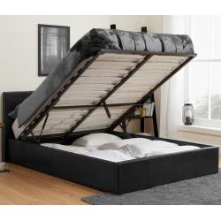 Bayen Faux Leather Ottoman Bed - Black Double Mood Shot Open