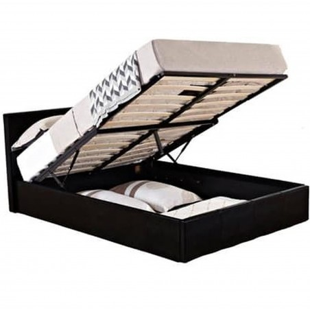 Bayen Faux Leather Ottoman Bed - Black Double Open