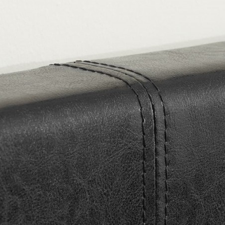 Bayen Faux Leather Ottoman Bed - Black Stitching Detail