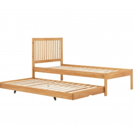 Buxton Bed with Trundle - Pine without mattress Trundle withdrawn