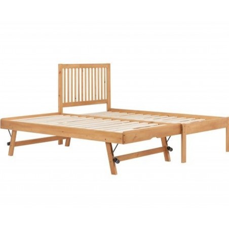 Buxton Bed with Trundle - Pine without mattress Trundle extended