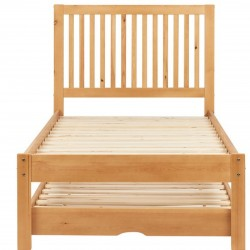 Buxton Bed with Trundle - Pine without mattress Front View