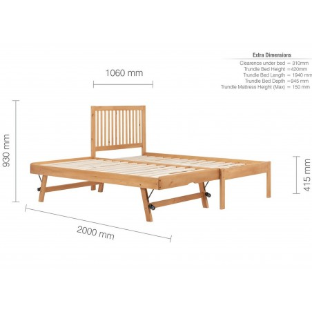 Buxton Bed with Trundle - Pine Dimensions