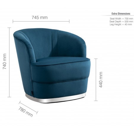 Cleo Accent Chair - Blue Dimensions