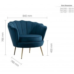 Ariel Accent Armchair - Blue Dimensions