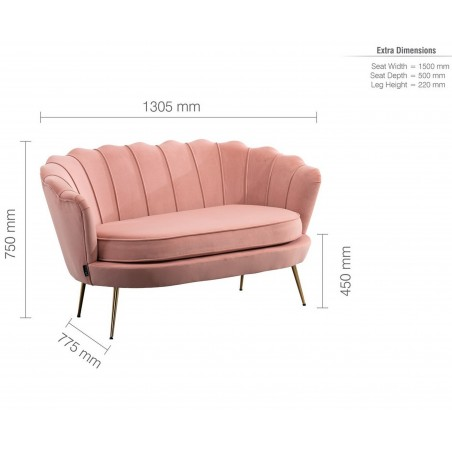 Ariel Two Seater Sofa - Coral Dimensions