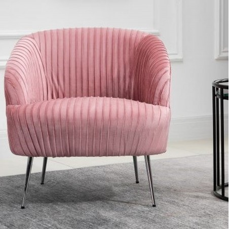 Layla Accent Chair - Pink Mood Shot Front View