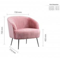 Layla Accent Chair - Pink  Dimensions