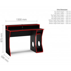 Enzo Gaming Computer Desk - Dimensions