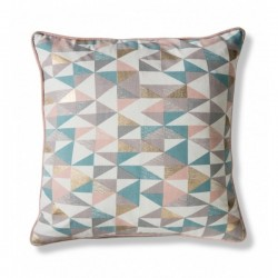 Geometric triangle cushion in pastel and gold