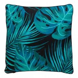 Palm leaf print cushion in green and black