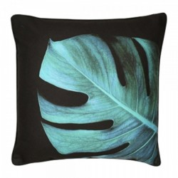 Cheese plant leaf cushion in black and green