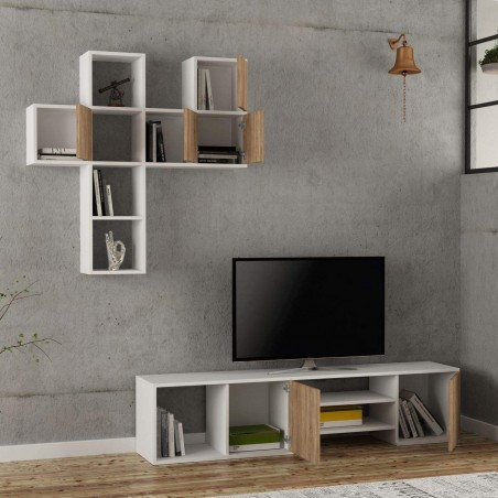 Importar Tv Stand White and Oak Mood Shot Doors Open