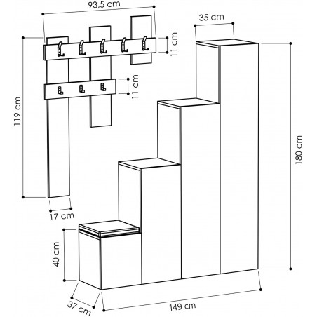 Arriba Hall Stand Dimensions