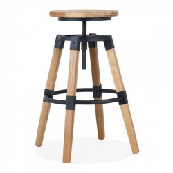 Swivel wooden bar stool in natural wood