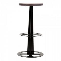 metal single column bar stool in black and dark wood seat