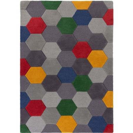 Munro Multicoloured Hexagon Rug Red/Yellow