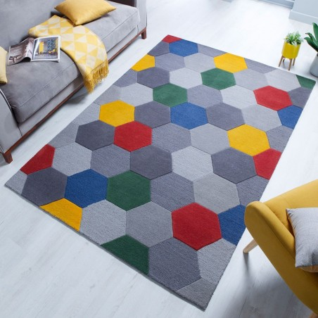 Munro Multicoloured Hexagon Rug Red/Yellow Mood Shot