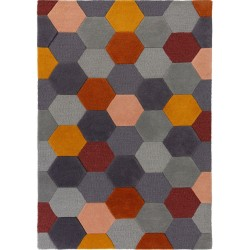 Munro Multicoloured Hexagon Rug Rust/Ochre