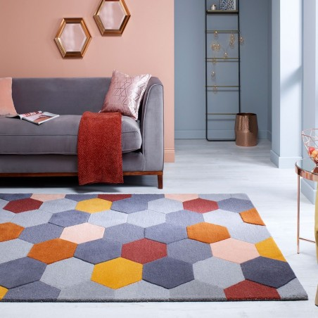Munro Multicoloured Hexagon Rug Rust/Ochre Mood shot