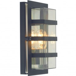 Buena Modern Geometric Wall Light - Black with Clear Glass