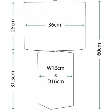 Esholt Ceramic Table Lamp - Dimensions