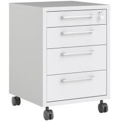 Prima 4 Drawer Mobile File Cabinet - White