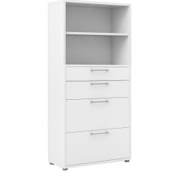 Bookcase  4 Shelves with 2 Drawers & 2 File Drawers - White