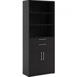 Bookcase  5 Shelves with 2 Drawers & 2  Doors - Black