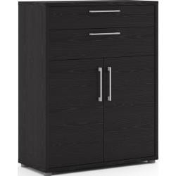 Prima Two Drawer & Two Door Cabinet - Black