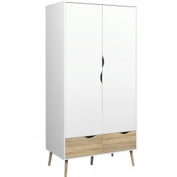 Asti Wardrobe in White and Oak, white background
