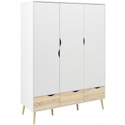 Asti  3 Door Wardrobe, white background