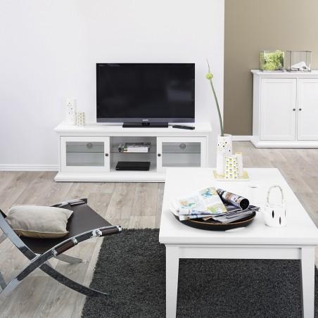 Marlow TV Unit - Two Doors & Shelf - White Room Shot
