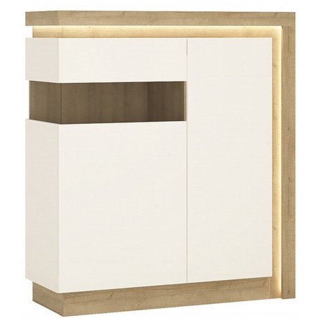 Darley 2 Door Designer Cabinet (LH) in light oak and white gloss, lit area detail