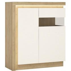 Darley 2 Door Designer Cabinet (RH) in light oak and white gloss, lit area detail