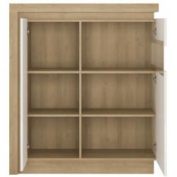 Darley 2 Door Designer Cabinet (RH) in light oak and white gloss, open door detail