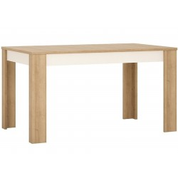 Darley Medium Extending Dining Table in light oak and white gloss, angle view