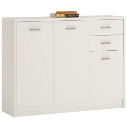 Topina 3 Door 2 Drawer Wide Cupboard - pearl White