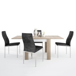 Darley Small Extending  Dining Set With Faux Leather Chairs