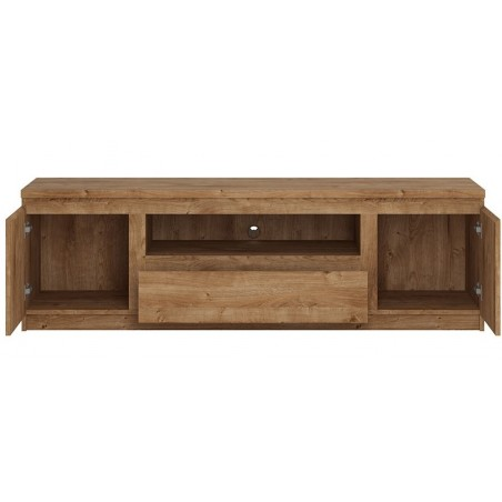 Fribo Wide TV Unit - One Drawer Two Door - Ribbeck Oak Open