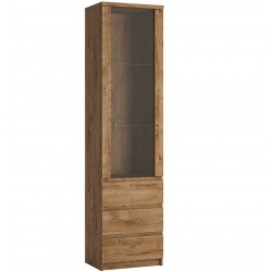 Fribo Tall Narrow Glazed Display Cabinet - Oak