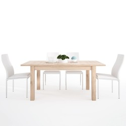 Kensington Extending  Dining Set With White Faux Leather Chairs