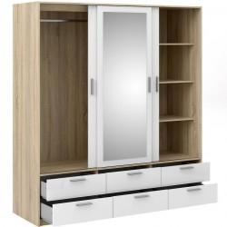 Arnum Three Door Six Drawer Wardrobe Open