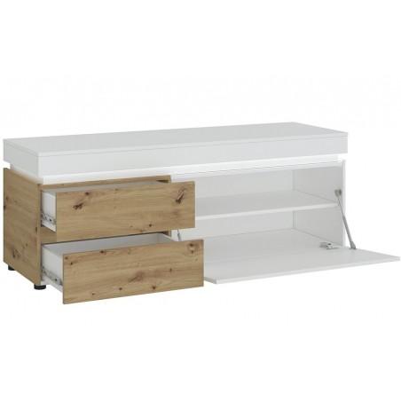 Luci  TV 150cm Unit - Two Drawer One Door  - White & Oak Open