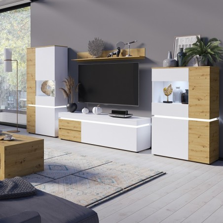 Luci  TV  Unit - Two Drawer One Door  - White & Oak Mood Shot