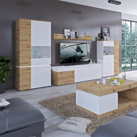 Luci  TV  Unit - Two Drawer One Door  - White & Oak Room Shot