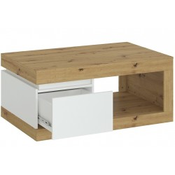 Luci One Drawer Coffee Table - Oak White Open Drawer