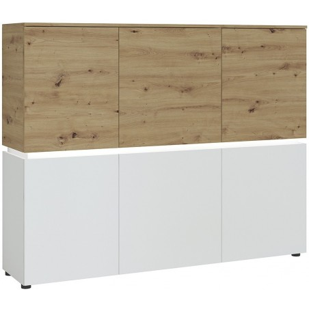 Luci Six Door Cabinet with LED Lighting - Oak & White