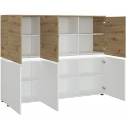 Luci Six Door Cabinet with LED Lighting - Oak & White Open